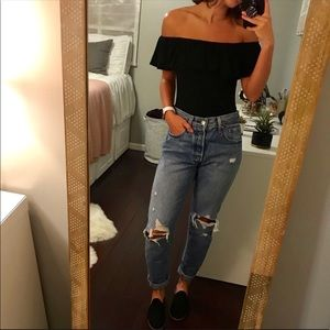 Francesca's Black Off The Shoulder Bodysuit